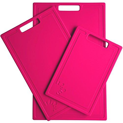 Set di 3 Taglieri anti-scivolo Lavabili in Lavastoviglie Taglieri di diverse dimensioni Grande, Medio e Piccolo Antibatterico Rosa