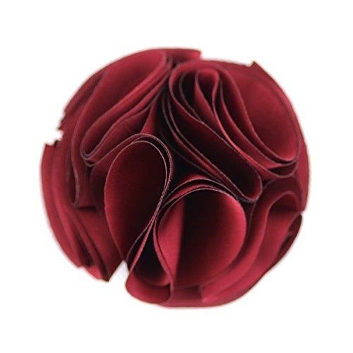 Merdia Flor De Seda De La Vendimia Pelo Cilp y Broches Boton (Rojo)