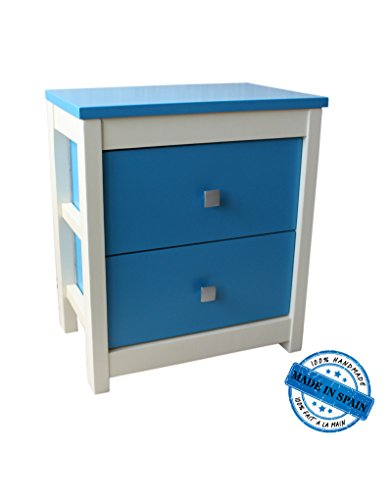 Commode van natuurlijk eikenhout met 2 laden in blauw en wit – grappig design en veel kleur – thuis en nog veel meer
