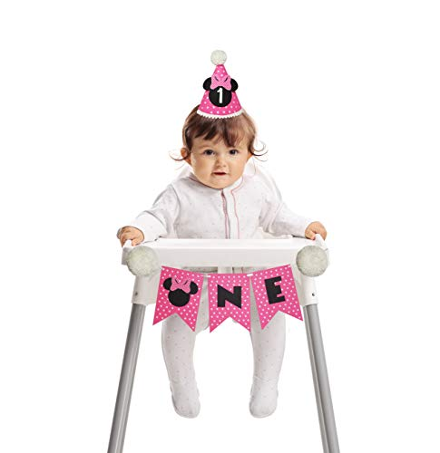Minnie Mouse First Birthday Party supplies-Minnie First Birthday highchair Banner and hat-Minnie One birthday-Pink Minnie party decorations-Minnie Clubhouse Party-Disney birthday party outfit girl
