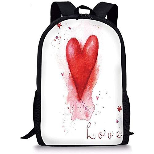 Hui-Shop Mochilas Escolares Love Decor, Acuarelas pintadas en Forma de corazón con Fugas de Elementos de Salpicadura en Flower Be Mine Boho Decor, Rojo Blanco