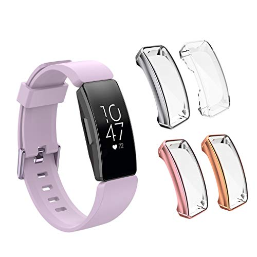 LittleForest (4 Pack) Screen Protector Case Compatible for Fitbit Inspire 2/ Inspire/Inspire HR, Overall Full Body Protective TPU Anti-Scratch Cover for Inspire, Pink,Siliver,Clear,Rose Gold