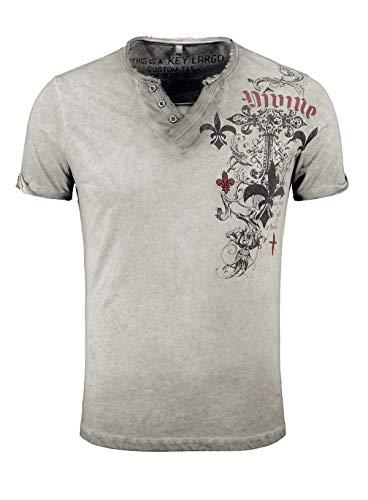KEY LARGO MT00287 - Camiseta para hombre, corte ajustado, cuello en V con botones