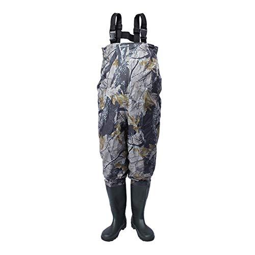Ewila wasserdichte Wathose mit Stiefeln, Nylon und PVC-Material mit Watgürtel wasserdichte, atmungsaktive Crosswater-Trägerhose für Männer und Frauen,42