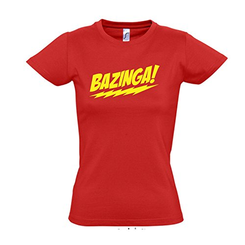 Damen T-Shirt - Bazinga, The Big Bang Theory - Fun Kult Shirt S-XXL, red - gelb, S