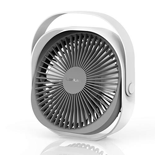LaHuKo 卓上扇風機 USB扇風機 ミニ扇風機 静音 パワフル送風 USBデスクファン ミニファン 扇風機 360度角度調整 風量3段階調節 4000mAh 長時間連続使用 ホワイト
