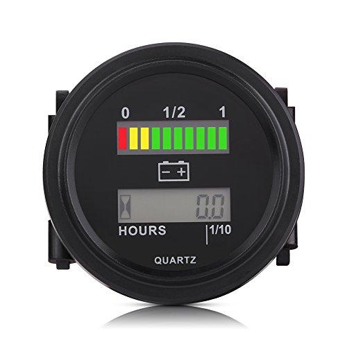 Testeur de Batterie Numérique, Keenso Jauge de Mesure de Moniteur de Capacité de Batterie 12V/24V/36V/48V/72V LED Jauge d'Indicateur de Batterie avec Compteur Horaire