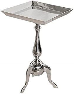 Table baroque rectangulaire en aluminium style baroque Argenté 55 cm
