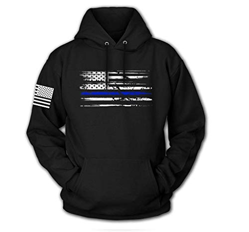 Tactical Pro Supply USA Sweatshirt Hoodie- American Flag Patriotic Jacket Sweater for Men Women - Blue Line Flag Black (Large)