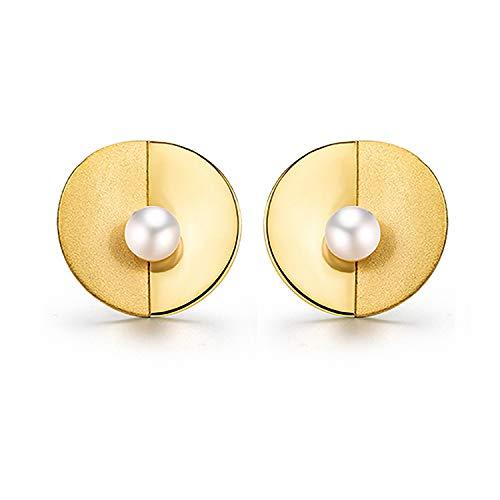 Regalo para ti Springlight S925 Pendientes de plata esterlina Perla natural Minimalismo Diseño de luz de pared Pendientes de botón Personalidad Temperamento Joyas para mujeres y niñas(Gold)