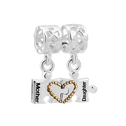 PoeticCharms Corazón, madre, amor, hija, plata de ley 925, puzzle, perlas para pulseras y collares