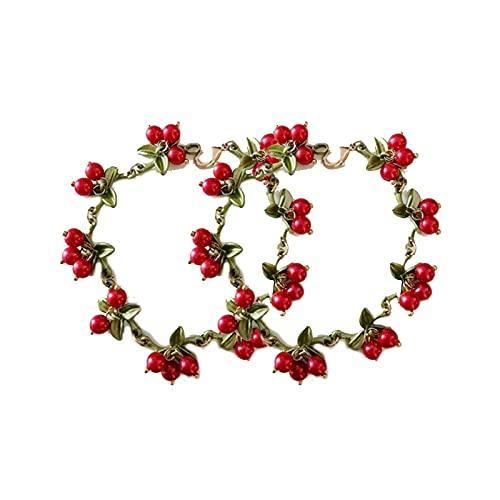 KKJP 2pcs Bracelet for Women Retro Plant Fruit Bracelets Green Leaf Beaded Multi-Color Temperament Bracelet (Red)
