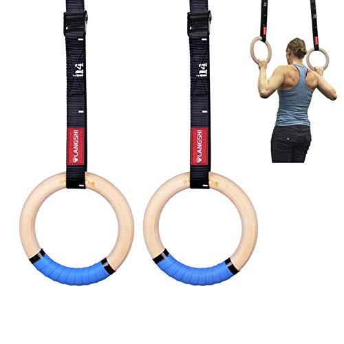 DYSD Gymnastikringe aus Holz, 32 mm, mit Schnallen, für Muskelaufbau, Bauchmuskeltraining, Krafttraining, Oberkörper-Kraft, Suspension-Training