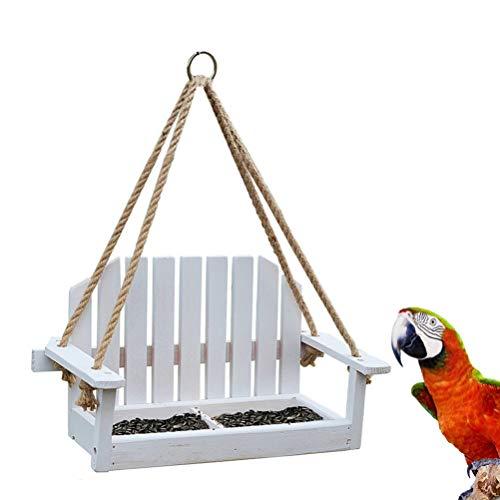 Balacoo Hangende Vogelvoeder Houten Schommelstoel Vogelvoeder Veranda Platform Lade Decoratie Voor Achtertuin Buiten Tuin