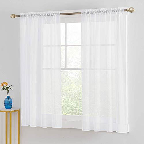 Saixi White Voile Sheer Curtains 52x63 Inch Super Soft and Durable Sheer 2 Panels Voile Sheer Rod Pocket Room Decorative Window Treatment Soft Light for Bedroom Living Room 52x63 Inch White 1 Pair