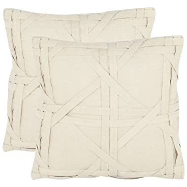 Safavieh Pillow Collection 18-Inch Cane Weave Pillow, Beige, Set of 2