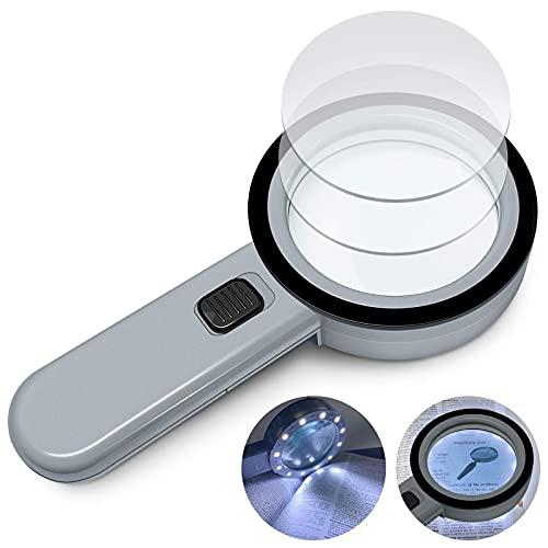 Lupe mit Licht Leselupe, 15X Lupe mit 12 LED Licht Handlupe Beleuchtet Verzerrungsfreier Doppelglaslinse zum Kleingedruckten, Hobbies, Münzen, Briefmarken, Handwerk und Schmuck (Dunkelgrau)
