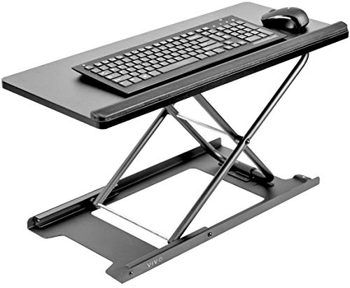VIVO Black Single Top 27 inch Heavy-Duty Scissors Lift Keyboard and Mouse Riser, Designed for Ergonomic Sit Stand Workstations, DESK-V000P