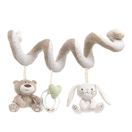 TININNA Baby Spielzeug Anhänger Spirale mit Plüschtieren Cute Bunny Bear für Kinderwagen Pram Pushchairs Auto Hanging Spielzeug mit Sounds für Neugeborene Baby Jungen Mädchen EINWEG Verpackung
