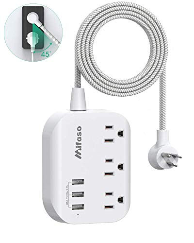 Travel Power Strip with 3 USB Charging Ports, Non Surge Protector Multi Plug with 5 ft Heavy-Duty Braided Extension Cord, Mountable, Flat Plug, Outlet Extender for Cruise Ship - White