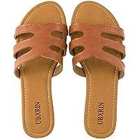 Ubxrin Women's Slide Flat Sandals with Rhinestones Open Toe