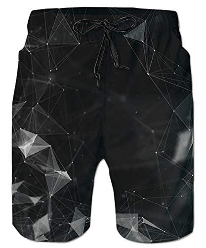 ALISISTER Herren Strand Shorts 3D Dimond Druck Badehose Elastische Taille Schwimmhose Hawaii Holiday Surf Board Shorts Herren Schwarz S