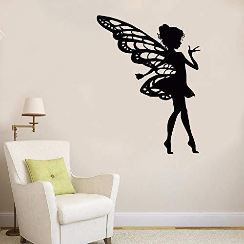Muursticker, afneembaar, voor sprookjes, kinderen, schoonheidssalon, sprookjes, meisjes, kinderkamer, muursticker, zelfklevend, voor ramen, zwart, 57 x 77 cm