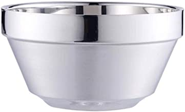 NJHDR Stainless Steel Bowls Large insulation Shatterproofsteel Bowl Rice Cereal Fruit Soup Bowls (Size : 11.5 * 6.2cm)