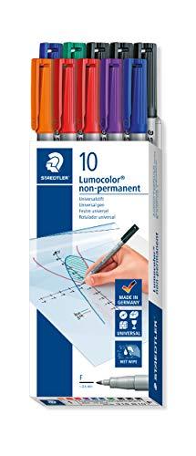 STAEDTLER Folienstift Lumocolor non-permanent 316 (wasserlöslich, F-Spitze ca. 0.6 mm, hohe Qualität Made in Germany, Set mit 10 Stiften in 6 Farben), 316 B10