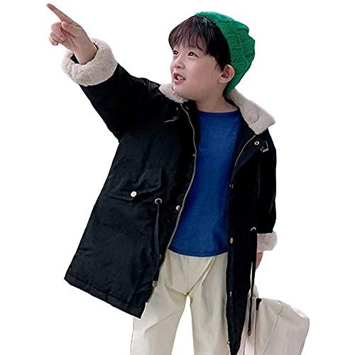 Chaqueta de terciopelo de cordero de moda de invierno para niños, chaqueta de algodón hacia abajo, abrigo de longitud media cintura cintura elástica elegante abrigo caliente para niños y niñas, verde,
