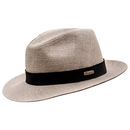 Sterkowski Sugarcane Hat   100% Linen Fedora Hat   Summer Fedora Hat Wide Brim Fedora Men Gangster Fedora Hats for Men Womens Wide Brimmed hat Fedora Cuban Godfather Hat MenUS 7 1/4 Beige