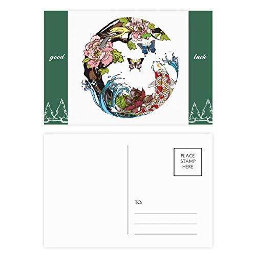 Karpfen-Vogel- und Lotus-Muster, Geometrie, Glücksbringer, Postkarten-Set, Karten, Postkarte, Seite, 20 Stück