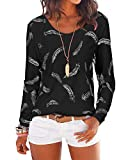 YOINS Women Long Sleeve Print Top T-Shirts Round Neck Star Tunic Casual Blouse Feather Print-Black X-Large
