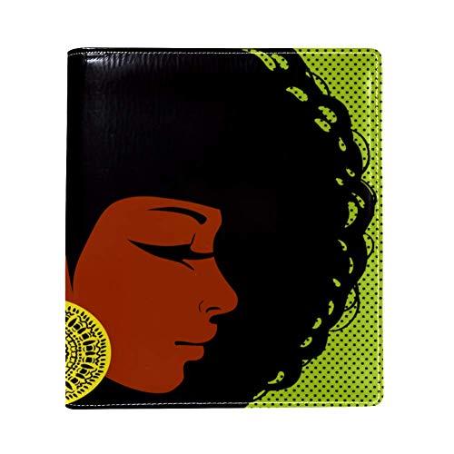 EZIOLY Afro Head Girl con pendientes dorados, funda de libro elástica que se adapta a la mayoría de libros de texto con tapa dura de hasta 8.7' x 6.3' sin adhesivo, protector de libros escolares, lavado y reutilizable.