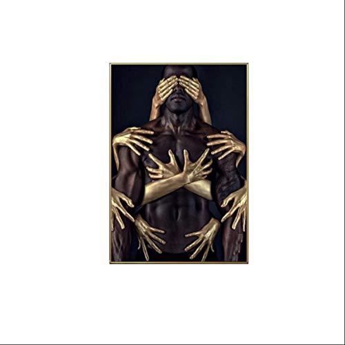 DGUOHAC Dekoratives Gemälde in Schwarz und Gold, für Wohnzimmer, Sofa, Korridor, Veranda, Esszimmer, dekoratives Gemälde, 70 cm x 100 cm