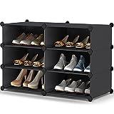 Shoe Rack, 3 Tier Shoe Storage Cabinet 12 Pair Plastic Shoe Shelves Organizer for Closet Hallway Bedroom Entryway
