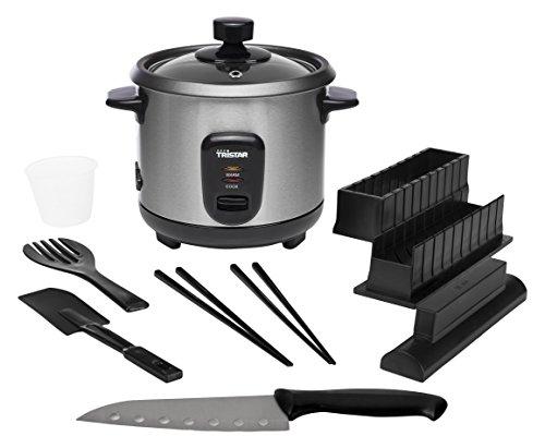 Tristar RK-6140 Reiskocher – Kapazität 0,6 Liter – Reis für bis zu 3 Personen – Anbrennschutz – Warmhaltefunktion – inklusive Sushi-Set
