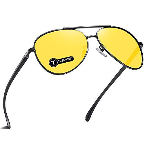 TERAISE Occhiali Per La Visione Notturna Sicurezza Guida Occhiali Da Sole Retro Polarizzati Lenti Gialle Antiriflesso Hd Per Uomini e Donne