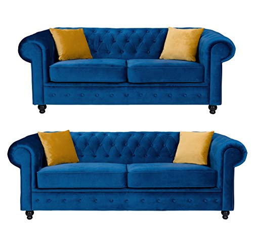 Sofas and More Hilton Chesterfield style Sofa Navy Blue French Velvet Fabric 3+2 Seater Set (3+2 Seater)