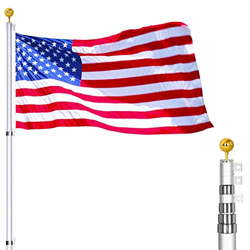 25FT Telescoping Flag Poles Kit - Portable 16 Gauge Telescoping Aluminum Flagpole Fly 2 Flags, Heavy Duty Flagpole with 3x5 USA Flag for Outdoor, Commercial or Residential
