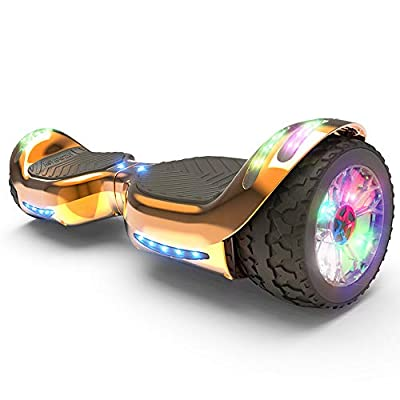 HOVERSTAR Hoverboard All-Terrain LED Flash Wheel with Bluetooth Speaker LED Light Self Balancing Wheel Electric Scooter (Chrome Rosegole)