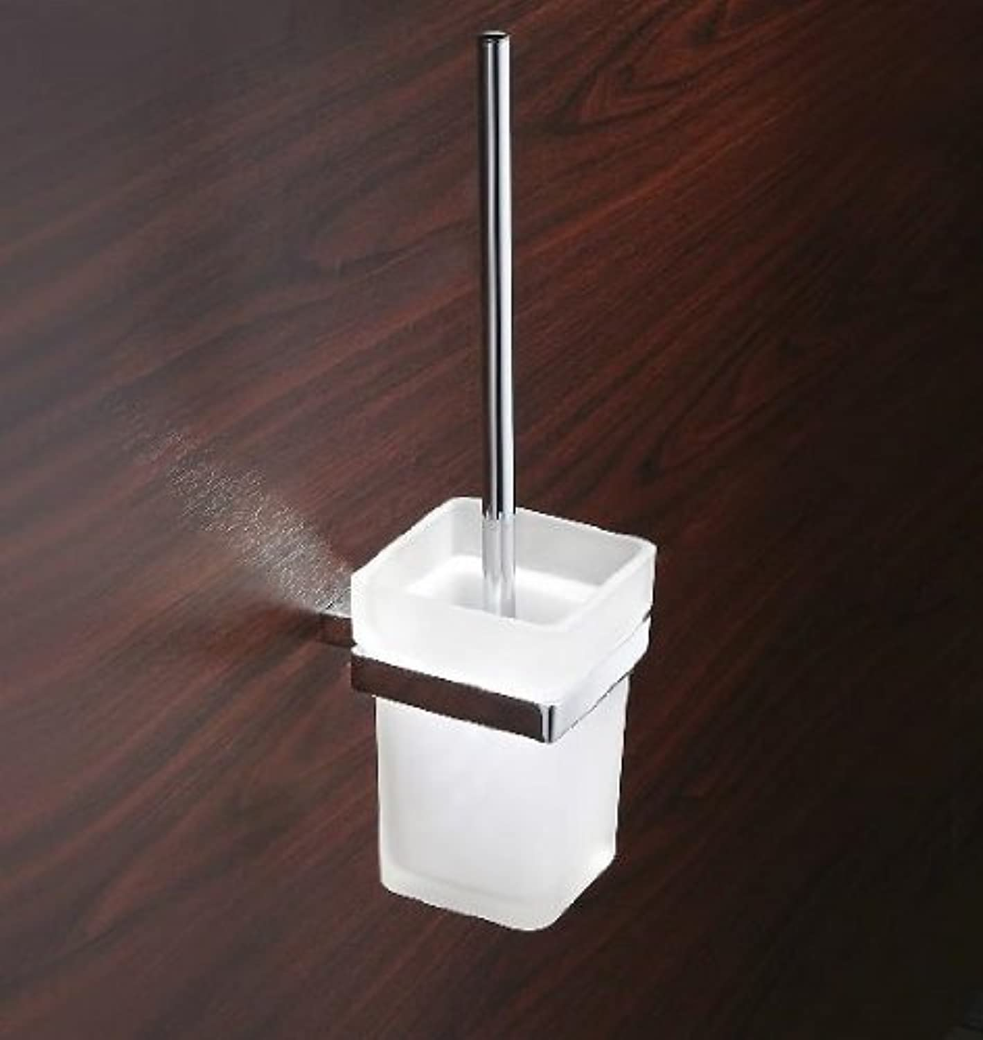 TACCY Bathroom Toilet Brush with Frosted Glass Cup and Brass Holder in Chrome Silver Finish  HD11