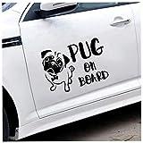 Vinilo coche Pug on board