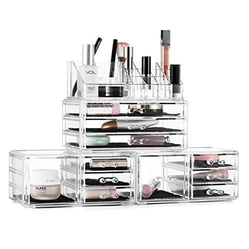 Yxsd Maquillage Organisateur 4 pièces Bijoux Acrylique et boîtes d'affichage cosmétiques de Stockage avec 11 tiroirs