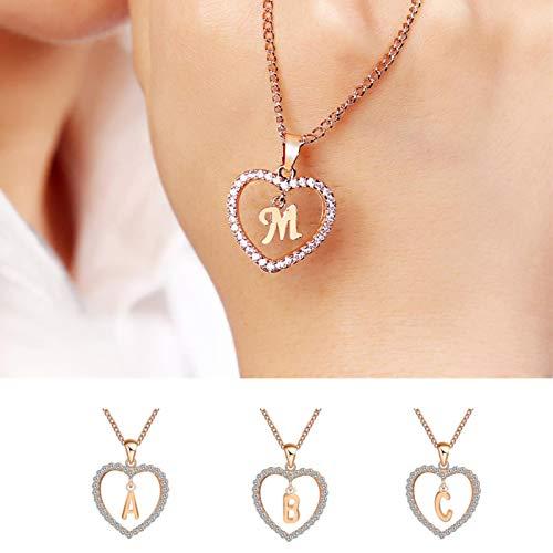 LIUL Colgante de Collares con Nombre de 26 Letras para Mujer, Cadena de Oro, Gargantilla de corazón, Collares, joyería para Mujer