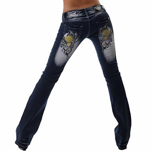 Crazy Age Damen Jeans Hose | Mystic Sunflower | Bootcut Low Waist Bleached Jeans (W42 / 40)