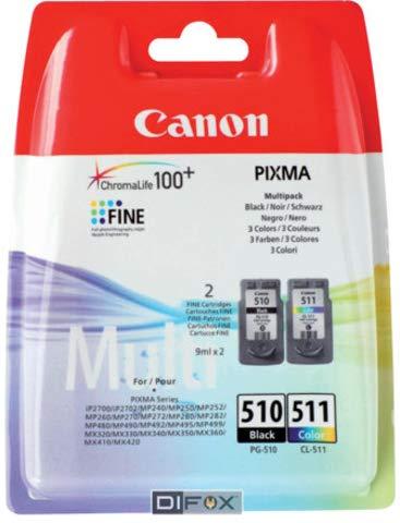 Canon PG-510/CL-511 2970B010 - Cartucho de tinta (original, 9 ml, 244/219 páginas, 2 unidades), color blanco y negro