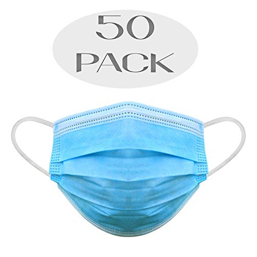 Particle Dust Breathing Respirator Mask Includes 50 Reusable Disposable Face Masks, one Size fits Most, for Many uses Including Light Construction, Allergy, Sanding, Woodworking, and Painting