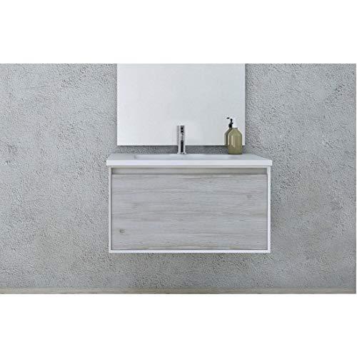 Mueble de baño suspendido moderno 74 o 100 cm bicolor blanco y pino blanqueado lavabo de resina cajón soft-close