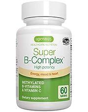 Super B-Complex - Hoge absorptie volledig spectrum B-vitamines met folaat, B6 & B12, plus vitamine C, onophoudelijke afgifte, 60 tabletten
